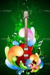 Colorful Music Card with Guitar