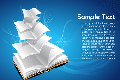 Book with Flying Pages and Sample Text