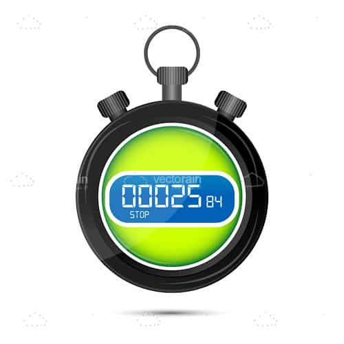 Digital Stop Watch in Bright Green and Blue