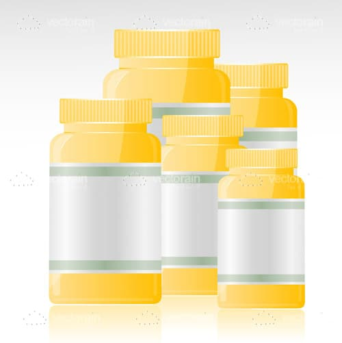 Abstract Yellow Bottles with Tags