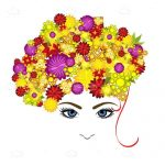 Abstract Female Face with Colorful Floral Hair