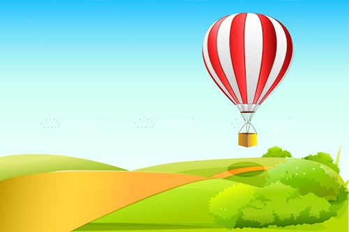 Hot Air Balloon Flying Over Country Lane