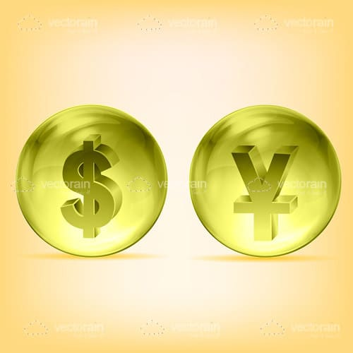 Dollar and Yen in Transparent Yellow Balls