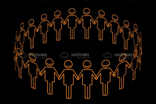 Orange Silhouette Figurines on a Black Background