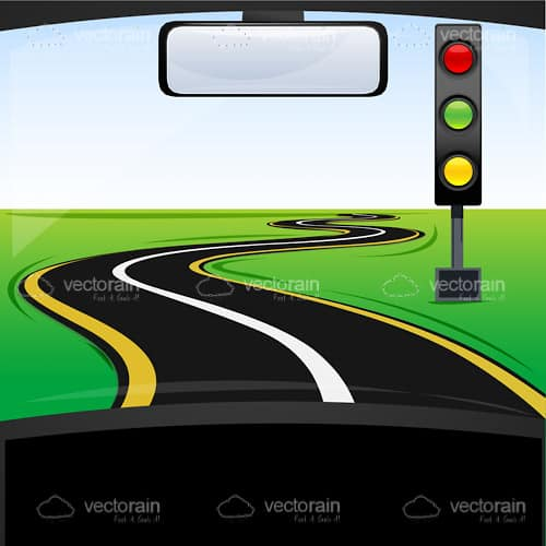 Illustrated Road with Traffic Light from Inside Car