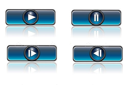 MEdia Player Icons in Metallic Blue