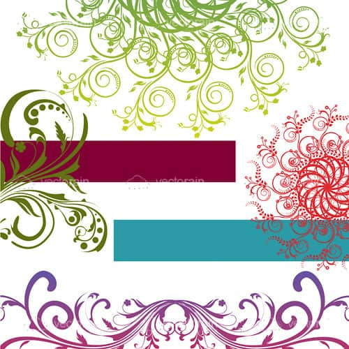 Abstract Green, Red and Purple Floral Card Background Design