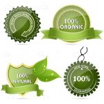 100% Organic Food Label Icons 4 Pack
