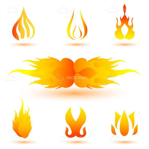 Abstract Flames Icon Set