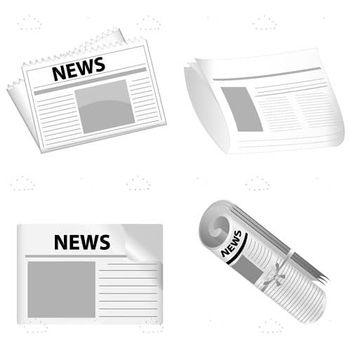 Black and White Newspaper Icon 4 Pack