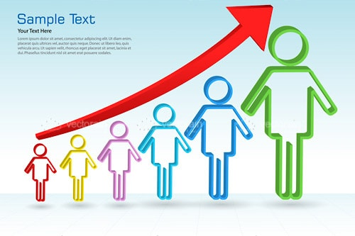 Growth Graph with Abstract People Bars and Sample Text