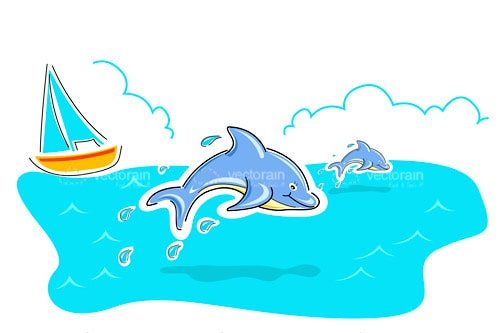 Illustrated Dolphins Swimming