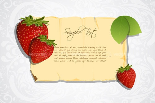 Aged Paper Frame with Strawberries and Sample Text on Floral Background