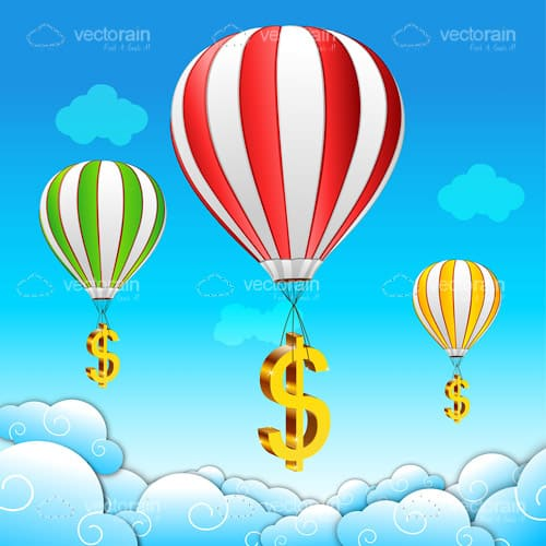 Colourful Hot Air Balloons with Dollar Symbols in Sky