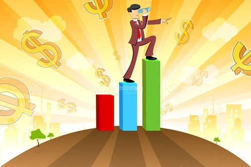 Illustrated Businessman Climbing Colourful Bar Graph on an Abstract Dollar Sign Covered Background