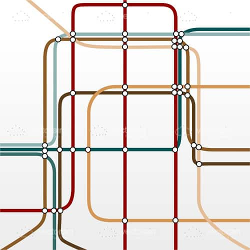 Red, Yellow and Green Wires Overlapping on a White Background