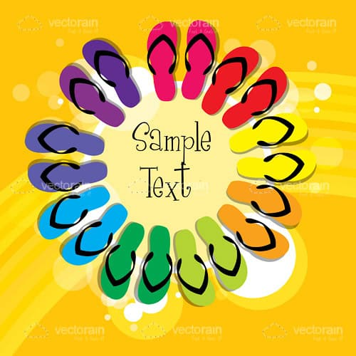 Colourful Flip Flops Circle with Sample Text