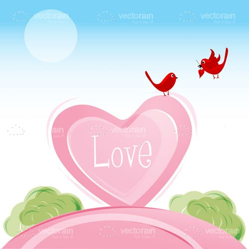 Pink Heart with Abstract Red Birds and Love Text