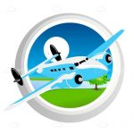 Aviation Themed Logo Airplane on a Window Frame with a View