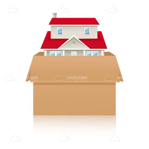 Cardboard Box with a Red Roofed House Inside