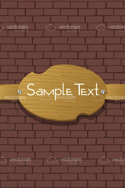 Wooden Wall Decoration with Sample Text on a Brick Wall