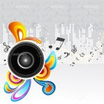 Abstract Music Background with Speaker, Colourful Swirls and Music Notes