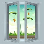 Open Window with Parachuting Dollar Symbols Outside