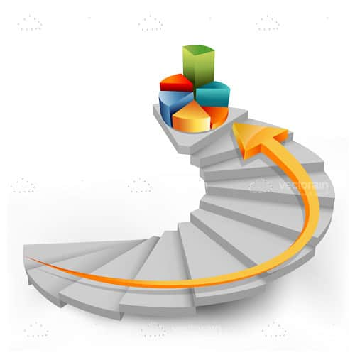 3D Pie Chart on Top of Spiral Staircase with Arrow
