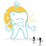 Sore Tooth with Germs in Cartoon Style