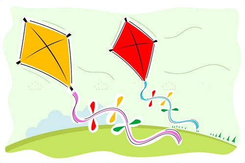 Colourful Kites in Abstract Sketch Style