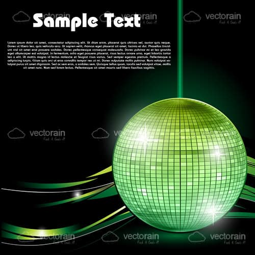 Green Disco Ball in Black Background with Waves and Sample Text