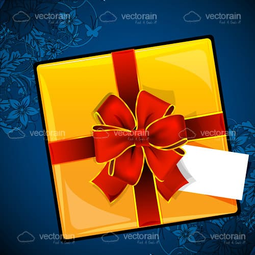 Yellow Gift Box with a Red Bow on a Blue Floral Background