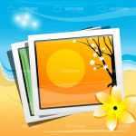 Travellers Photographs on a Sandy Beach Background with a Flower Icon