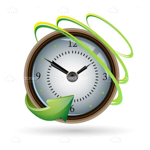 Abstract Clock with Concentric Circles and Arrow