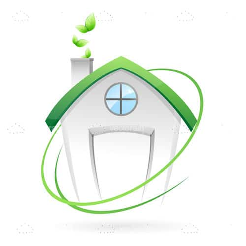 Abstract House with Green Roof Icon