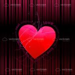 Bright Pink Heart with Love Text on Dark Background