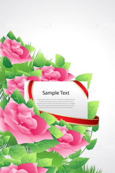 Abstract Roses and Leaves with White Card and Sample Text