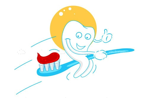Happy Tooth Flying on a Toothbrush