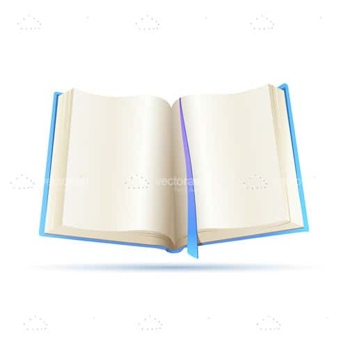 Open Book with Blue Cover on a White Background