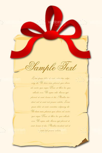 Aged Paper with Red Ribbon Bow and Sample Text