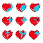 Abstract Red Hearts Icon Set