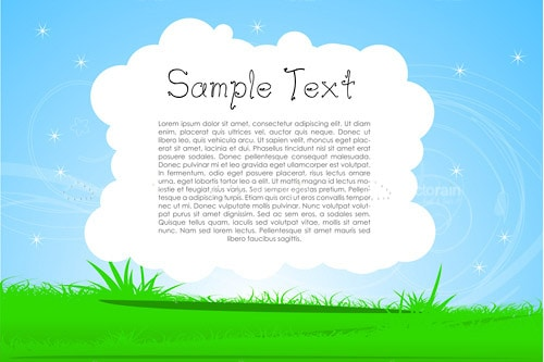 White Cloud filled with Sample Text over Blue Sky and Green Grass