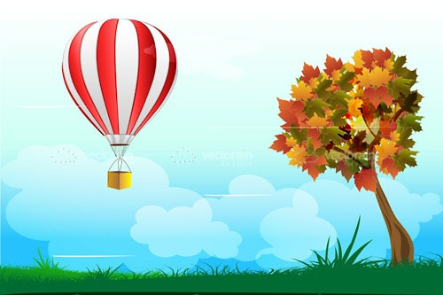 Outdoor Scene with Tree and Hot Air Balloon