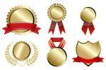Gold and Red Prize Badges