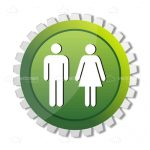 Round Badge with Abstract Man and Woman Symbols