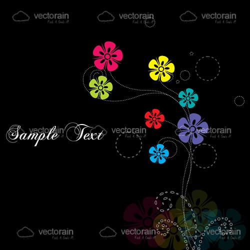 Abstract Colourful Flowers Black Background with Sample Text