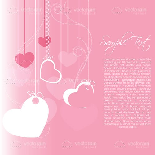 Pink Background with Hearts Pattern and Sample Text