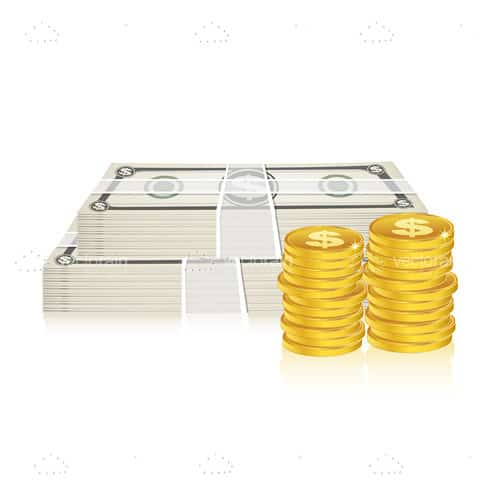 2 Stacks of Dollars alongside Gold Coins
