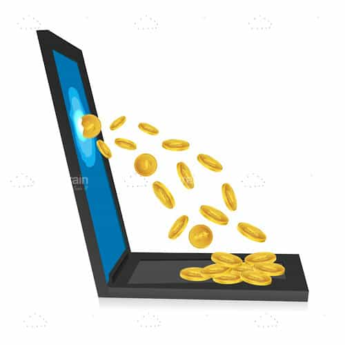 Laptop with Golden Coins Coming Out of Screen