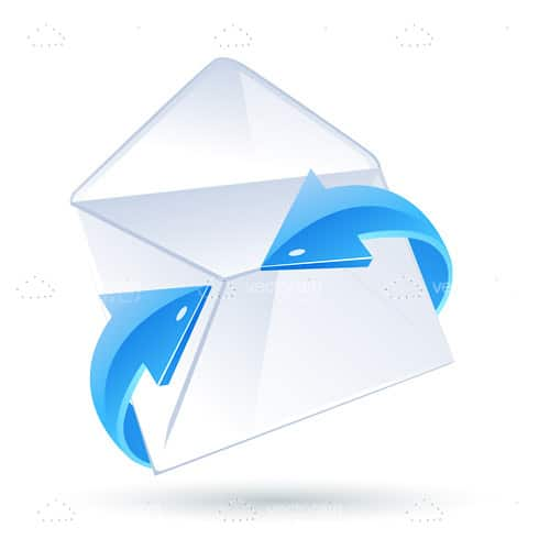 Abstract Envelope Surrounded by Glossy Blue Arrows